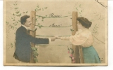 """Ancienne Cp """" Bonne Année, Femme, Homme ( M.F. Paris) """" Avec Valeur Et Cachet 1905 - New Year"""