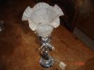 Ancienne Lampe à Gaz électrifiée,en Régule Argenté Avec Tulipe Verre Soufflé