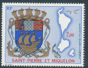 ST. PIERRE AND MIQUELON 1974 COAT OF ARMS, FISH AND BIRD SC# C55 VF MNH - St.Pierre & Miquelon