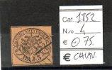 PON020 - 1852 STATO PONTIFICIO N. 4 USATO FIRMATO CHIAVARELLO CAT. 75 EURO - Etats Pontificaux