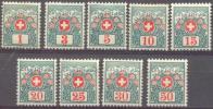 1910 Alpenrosen Und Jungfraumassiv Zum 29-37 / Mi 29-37 / Sc J35-43 / YT 42-50 Ungebraucht / Neuf Avec Charniere / MH - Taxe