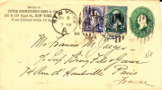 USA - 1889 - ENVELOPPE ENTIER Avec REPIQUAGE De NEW YORK Pour PARIS -