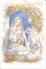 Joyeux Noël. Carte à Système Dorée. Crèche , Colombes, Agneaux, Corbeille De Fruits, Bergers, Flûte, Biniou - Fleurs, Plantes & Arbres
