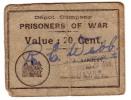 1939-1947 // Bon De Prisonnier De Guerre // Camp Américain Du Havre // 20 Centimes - Bonds & Basic Needs