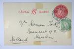 Ireland : Upgrated Postcard 1925-31, Michel P2 With Additional Stamp, Used In 1938 To Haarlem Holland - Postwaardestukken