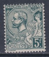 Monaco N° 47 XX  : Prince Albert 1er : 5 F. Vert-gris Foncé  Sans Charnière  TB - Monaco