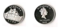 BERMUDES  2 DOLLARS 1993  ARGENT  SUPERBE  RARE ! - Bermudes