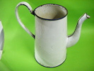 Cafetiere Complete  -ancienne-emaillee --blanc Filet Bleu- - Art Populaire