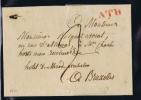 België Brief (omslag)  1814 Van Ath Naar Brussel, ATH In Rood 21 X 6 Mm H31 - 1794-1814 (Période Française)