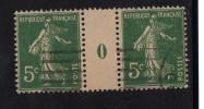 5c Semeuse X 2 MILLESIME 0 T.P. Ob. - France