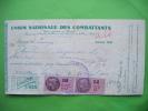 Reçu Union Nationale Des Combattants -unis Comme Au Front-1939-timbre Da 55c Et Da 5c - Army & War