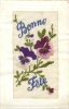 CARTE BRODEE BONNE FETE - Embroidered