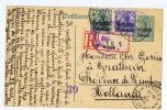 Belgium: Registered Postkarte,Mit Zusatzfrankatur, 1916 Brussel-> Grathem Nederland Violet  Sensuur Stempel 39 - Guerre 14-18