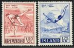 ISLANDE 1957 - ** - 272 273 - Mi 314 315 - Lutte Natation Plongeon Swimming 2 - Sellos