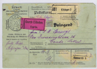 Deutsche Reich: Paketkarte, 1920 Kitzingen  To Gouda Holland, Durch Eilboten, Specificatie Der Kosten Cancel On Back