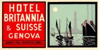 Etiquette Hotel Suisse Britannia Genova Geneve Domus Fida Hospitae Amica - Hotel Labels
