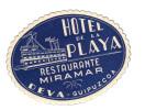 Etiquette Hotel Italie Playa Restaurante Miramar Deva Guipuzcoa - Etiquettes D'hotels