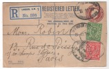 PS  2pREGISTATION+1p POSTAGE + Complément Obl. REGISTRED S.W.D.O PourPARIS  1912(scan Verso) - Stamped Stationery, Airletters & Aerogrammes