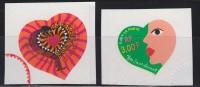 = Les Coeurs De La Saint Valentin 2000 Par Yves Saint Laurent Autocollants Issus De Carnet N°27 Et 28 - Adhesive Stamps