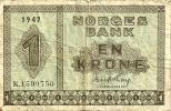 NORWAY 1 KRONE GREEN  MOTIF FRONT & BACK DATED 1947 P15b AF READ DESCRIPTION !! - Norvège
