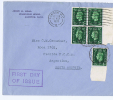 Great Britain:  FDC 1937 SG 462   Dd  10-05-1937, 4-block With Sheetmargin, To Argentina - FDC