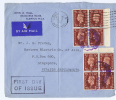 Great Britain:  FDC 1937 SG 464   Dd  30-07-1937, 2 Times 4 Block With Sheet Margins , Singapore Strait Settlements - FDC