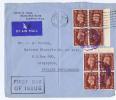 Great Britain:  FDC 1937 SG 464   Dd  30-07-1937, 2 Times 4 Block With Sheet Margins , Singapore Strait Settlements - ....-1951 Vor Elizabeth II.