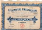 L'Azote Français Action De 100 Francs Au Porteur - Agricultura