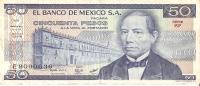 BILLETE DE MEXCO DE 50 PESOS LETRA E  (BANK NOTE) - México