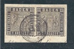 Baden Scott #  10 Used Pair On Peice 1kr Issue Of 1860  Catalogue $ 60.00 - Bade