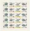 HONGRIE Aérophilatélie Pa 296/299 Se Tenant En Feuillet De 5 Bandes, Parachutiste, Hélicoptère, Avion Et Luna 12