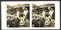 Japan (~1900´s) Girls / Geisha´s In Meiji Jingu Iris Garden - Yokosuka - Horikiri (NPG) - Stereoscoop