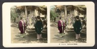 Japan (~1900´s) Women With Merchant Of Toys - Hand-coloured - (NPG) 2 - Stereoscoop
