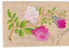 """20382 Carte Celluloide , Rose En Tissus ,  Datée 1905 """"je T'aime """""""