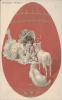 SUPERBE CPA ILLUSTRATEUR-JOYEUSES PAQUES-JEUNE FILLE REGARDANT DEUX MOUTONS -OEUF ROUGE- SERIE 1947 - Vrouwen
