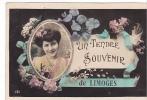 20454 Un Tendre Souvenir De Limoges . 161éd ? Femme Fleur - Limoges