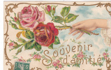 20460 Carte Relief Fleur Rose Main . Souvenir D'Amitié -série 851 Hirondelle Limoges