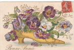 20461 Carte Relief Fleur -chaussure Pensée . Bonne Année -série 101 Hirondelle Limoges - Fleurs, Plantes & Arbres