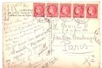 Carte Avec Bande De 5 Ceres De Mazelin N°676 Oblitéré Nimes-gare - 1921-1960: Modern Period