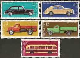 USSR Russia 1976 History Of Soviet Autoindustry Transport Trucks Cars Truck Car Motor Bus Industry MNH Michel 4473-4477 - Trucks