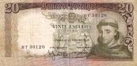 BILLETE DE PORTUGAL DE 20 ESCUDOS DEL AÑO 1964 SERIE BT   (BANK NOTE) - Portugal