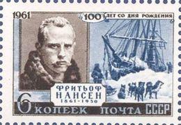 USSR Russia 1961 Birth Centenary Of Nansen Norwegian Explorer Norway People Portrait Polar Ship Fleet MNH Scott 2557 - Polar Philately
