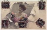 PHOTOMONTAGE : LANGAGE DU NOUVEAU TIMBRE - ANNÉE: ENV. 1905 - 1910 (k-292) - Briefmarken (Abbildungen)