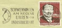 """(653) Schöner Werbe-O SCHWENNINGEN Am Neckar """"UHREN- Und Industriestadt"""" Uhr, 29.8.57, Bund MiNr. 266 EF - Uhrmacherei"""