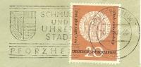"""(709) (17a) PFORZHEIM 1, 10.12.57, Werbe-O """"SCHMUCK Und UHREN Stadt"""" Bund MiNr. 255 EF - Uhrmacherei"""