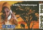 CARTE-PREPAYEE-GOLD-AFRICA-7.5€-FEMME TELEPHONANT-SAVANE -- TBE - Autres Prépayées