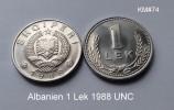 Albania Albanien Albanie 1 Lek  LEKE 1988  Alu UNC RR Selten NEW - Albania