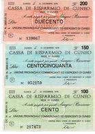 Italia ITALY 100 Lire 200 LIRE  150 LIRE 1976 CUNEO - [10] Scheck Und Mini-Scheck