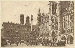 AK München Marienplatz Rathaus Oldtimer Straßenbahn ~1920 #16 - Muenchen