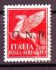 REPUBBLICA SOCIALE ITALIANA POSTA AEREA 1944 N. 124  10L.  CARMINIO USATO  1 VALORE - Luftpost
